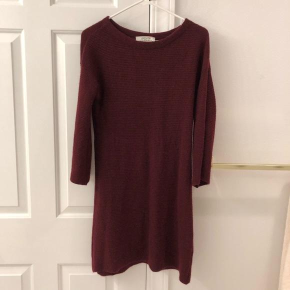 ply cashmere Dresses & Skirts - Cashmere long sleeve burgundy dress